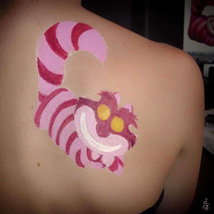 body paint - gato cheshire - aquacolor - lápiz creativo