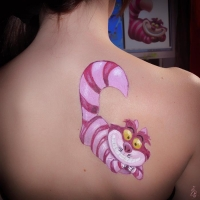 tatoo temporal - gato cheshire - aquacolor - lápiz creativo