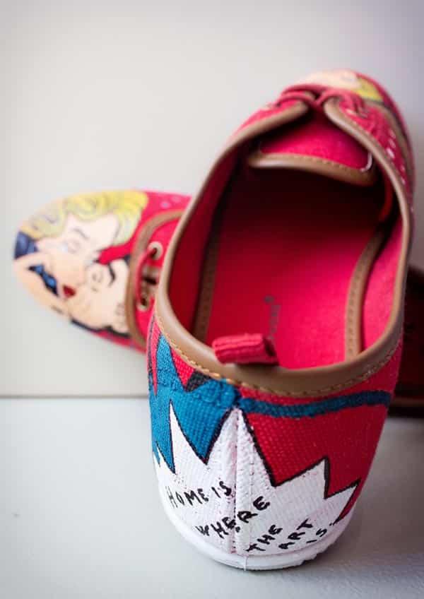 Pop art - Zapatillas pintadas a mano - Zapatillas decoradas - lápiz creativo
