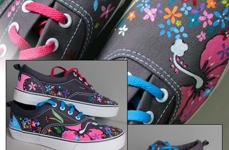 Flores pintadas a mano - zapatillas personalizadas - lápiz creativo