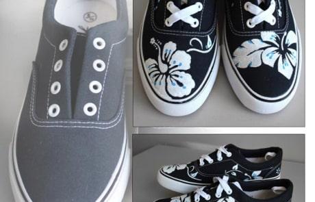 Zapatillas decoradas _ Flores pintadas a mano - playeras surferas - zapas decoradas - lápiz creativo