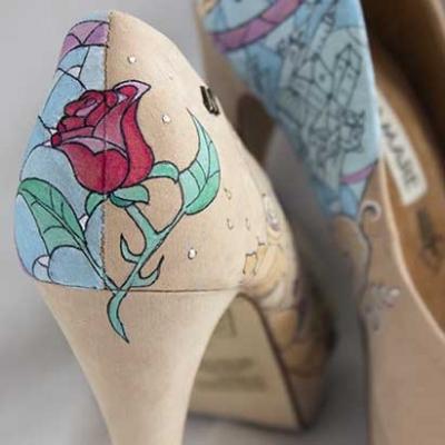 Tacones de cuento - La Bella y la Bestia - Disney Heels - Handpainted shoes - Wedding Shoes - Disney Heels