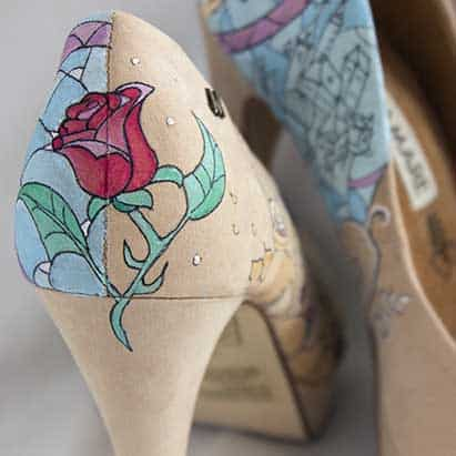 Tacones de cuento - La Bella y la Bestia - Disney Heels - Handpainted shoes - Wedding Shoes - Disney Heels