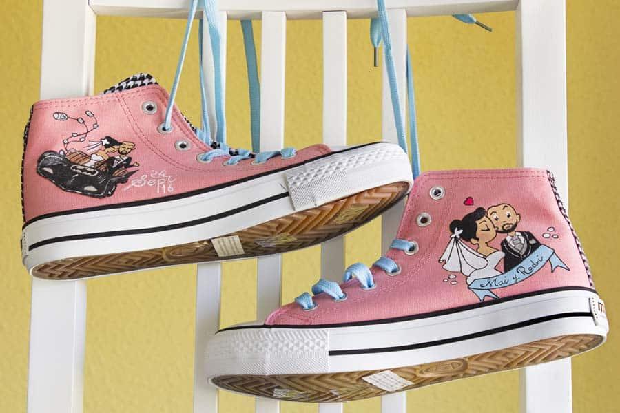 Zapatillas de boda - pintado a mano- converse personalizadas - lápiz creativo