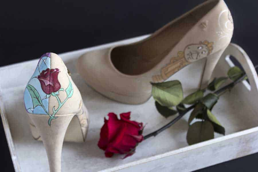 La Bella y la Bestia_ Beauty and the Beast_Disney Heels_ Zapatos Pintados a mano - Tacones