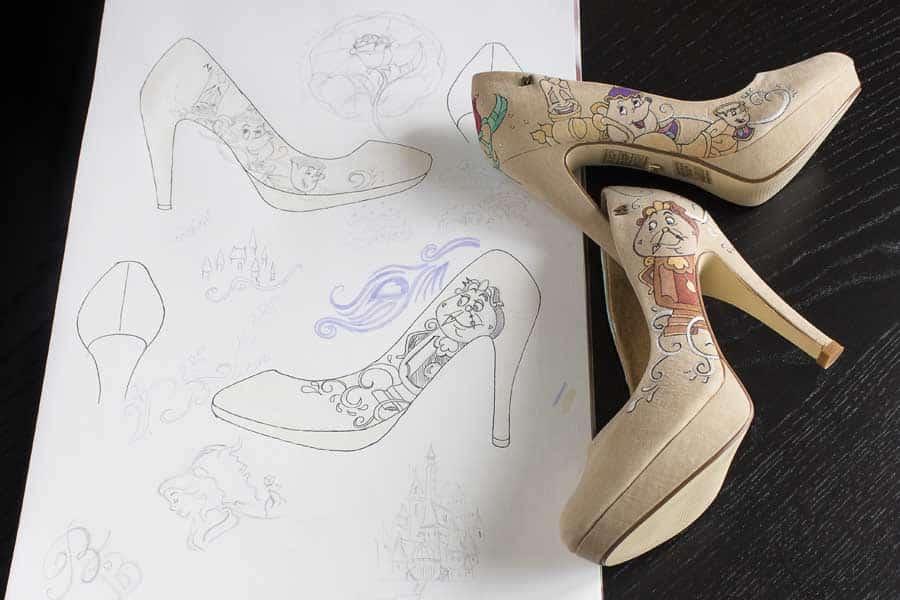 La Bella y la Bestia - diseño de zapatos pintados a mano - lápiz creativo