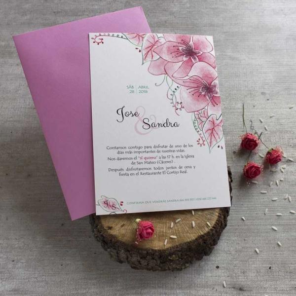 Invitaciones Originales - Flores _ Naturaleza - Invitaciones Ilustradas - Acuarelas - Tarjetas de Boda - Invitaciones para Bodas - Wedding - Save the date - LapizCreativo.