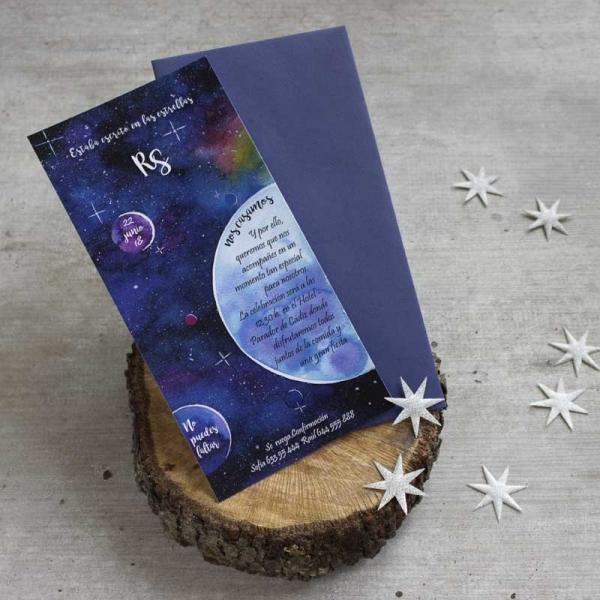 Invitaciones Originales - Planetas - Invitaciones Ilustradas - Acuarelas - Tarjetas de Boda - Invitaciones para Bodas - Wedding - Save the date - LapizCreativo.