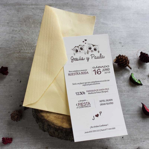 Invitaciones - Tarjetas de Boda - Invitaciones para Bodas - Wedding - Invitaciones VIntage - Buhos - Save the date - LapizCreativo