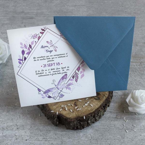 Invitaciones - Tarjetas de Boda - Invitaciones para Bodas - Wedding - Invitaciones VIntage - Save the date - Libélulas - LapizCreativo