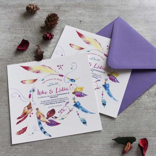 Invitaciones - Vintage - Boho - Indie - Plumas -Tarjetas de Boda - Invitaciones para Bodas - Wedding - Save the date - LapizCreativo