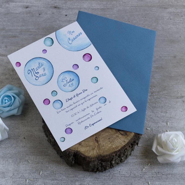 Invitaciones de boda- tarjetas- burbujas- lapiz creativo