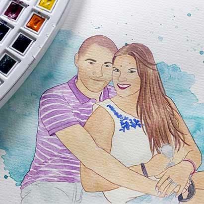 Regalos novios - Regalos de boda - Acuarela - Ilustración Personalizada - Retrato Familiar - LapizCreativo