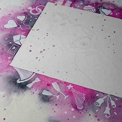Acuarela - wedding Planner - Ilustracion - white ink - Lapiz Craetivo