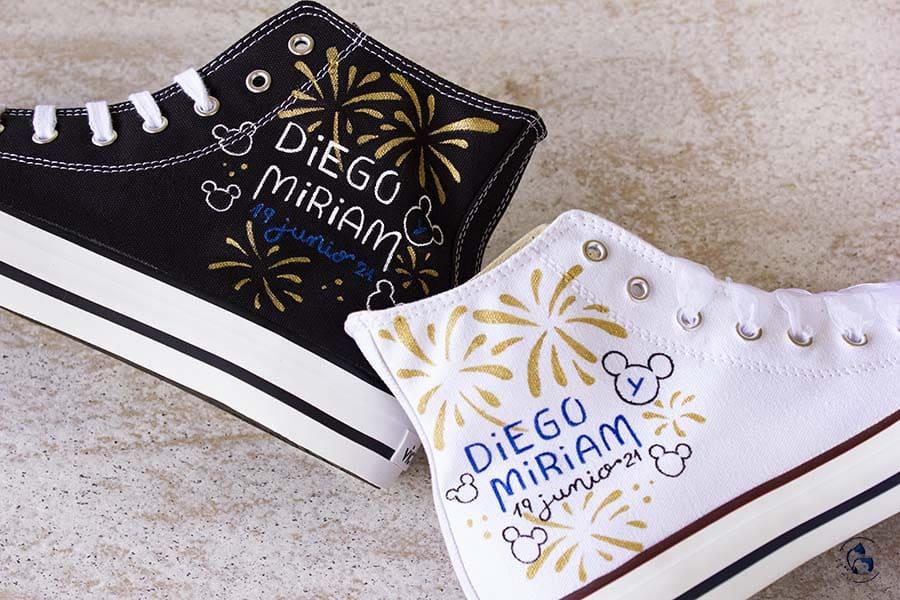 Zapatillas personalizadas - bambas decoradas - converse pintadas - mickey y minnie - regalo novios - LapizCreativo