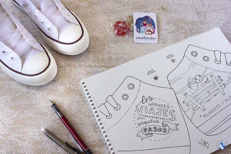 boceto zapatillas personalizadas - decoracion de zapatillas de novia - regalos de boda - lapizcreativo