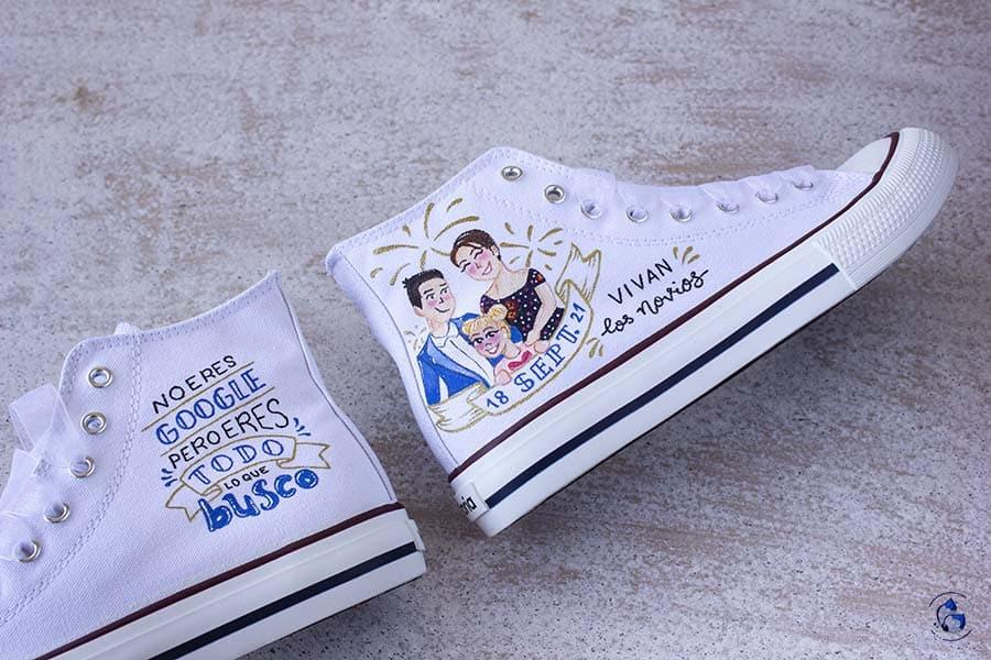 regalos para novios _ Zapatillas personalizadas - zapatillas novia - LapizCreativo