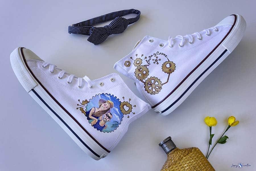 egalos para novios - regalos de boda - zapatillas personalizadas - zapatillas pintadas a mano - lapizcreativo