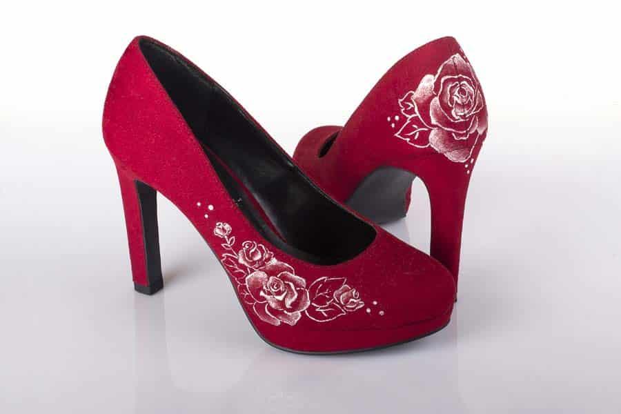Zapatos _ Pintados a Mano _ Zapatos Rojos _ Lápiz Creativo
