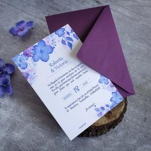 Invitación de boda - Hortensias