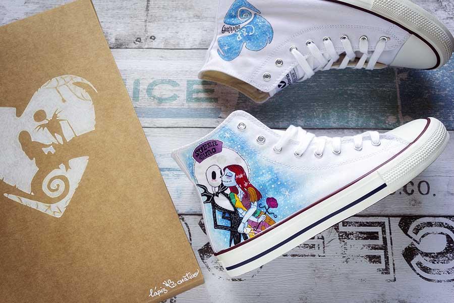 Zapatillas Personalizadas _ Zapatillas Pintadas a mano _ Jack y Sally _ LapizCreativo