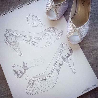 Boceto zapatos de novia _ el Señor de los Anillos _ lapiz Creativo