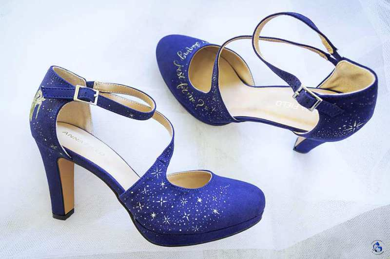 Zapatos de Tacón de Anna Field. Pintados a mano, inspirados en el musical de La La Land.