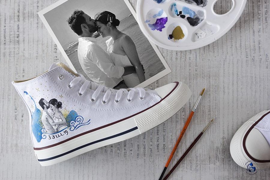 Zapatillas de novia Personalizadas _ Zapatillas Pintadas a Mano _ Converse Pintadas a Mano_ LapizCreativo