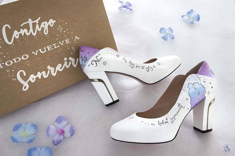 Zapatos de novia pintados a mano _ Princesa Cisne _ Zapatos Decorados
