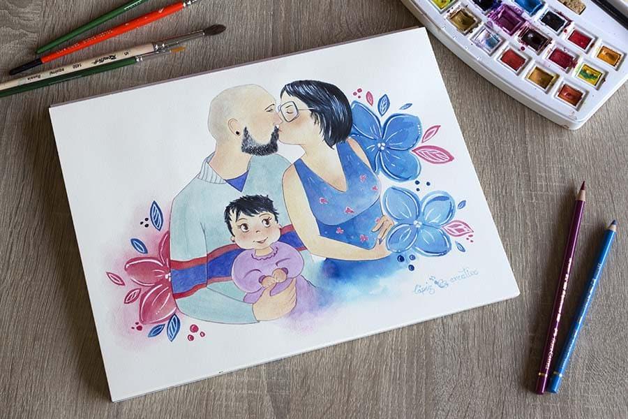 Ilustración Personalizada _ Regalo padres _Retrato familia _ LápizCreativo