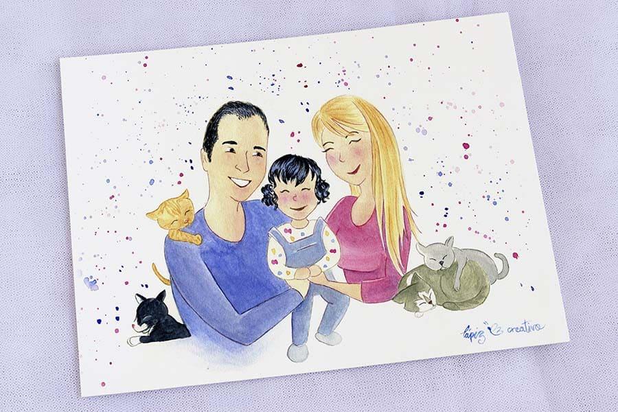 Ilustración personalizada _ familia _ lovepet _ lapizcreativo