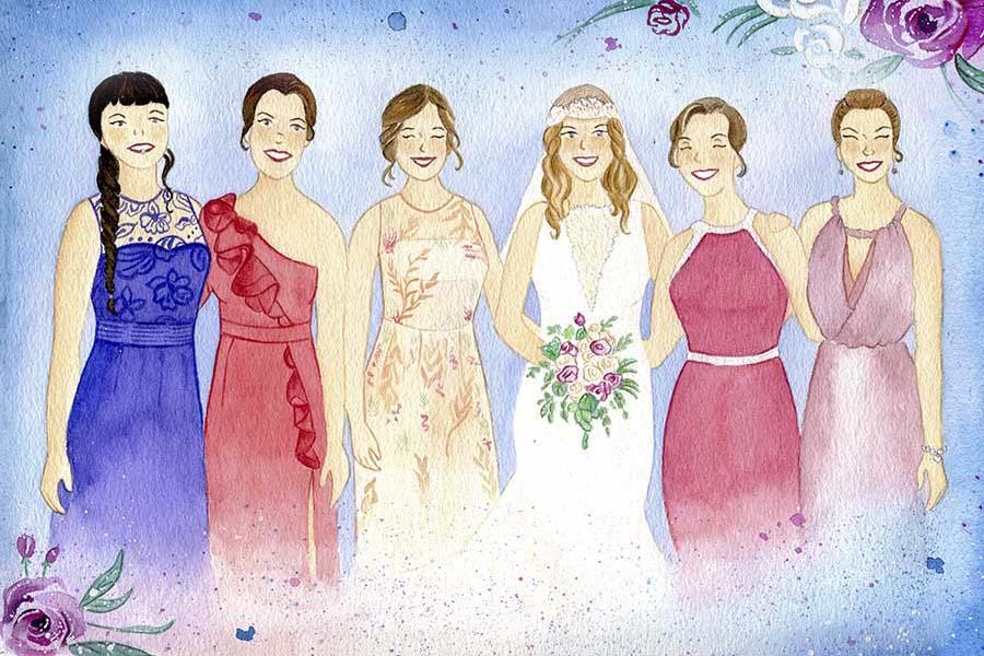 Ilustracion personalizada _ damas de honor _ regalo boda _ LápizCreativo
