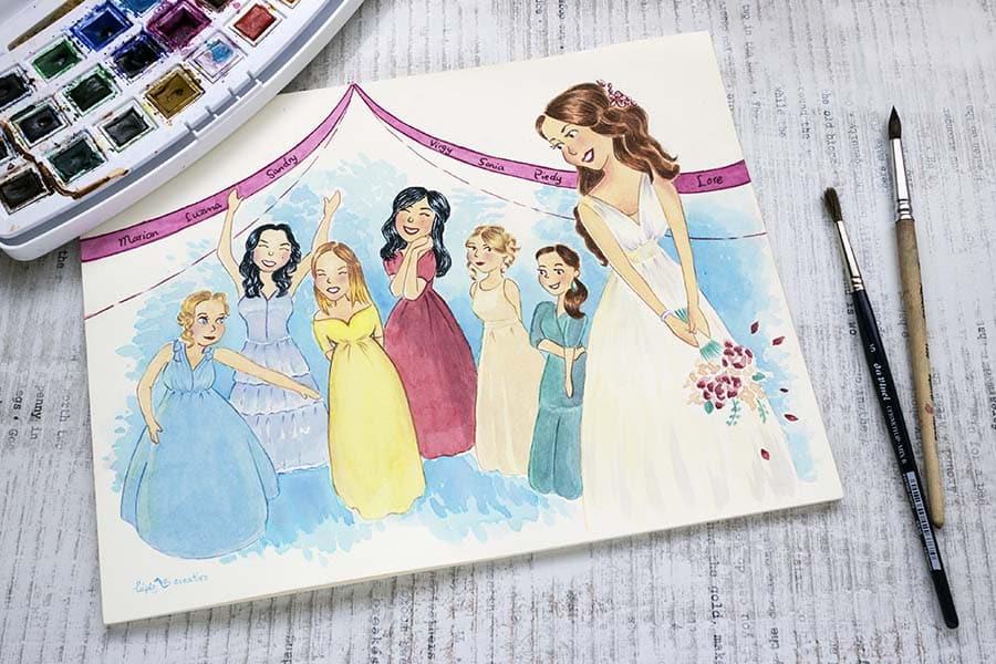 Ilustracion personalizada _ regalo novia boda _ lapizcreativo