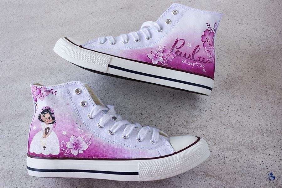 Zapatillas Personalizadas de comunion _ Converse Pintadas a Mano _ Zapatillas de lona Degradas _ lapizCreativo