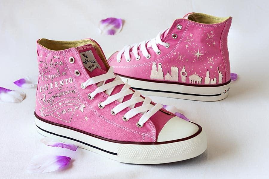 Zapatillas de novia _ Zapatillas Personalizadas _ Converse Pintadas a Mano _ LapizCreativo