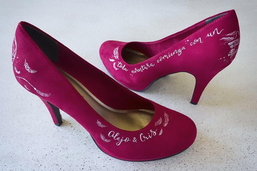 Zapatos de Novia _ Zapatos Rojos _ Zapatos Pintados a Mano por Lápiz Creativo