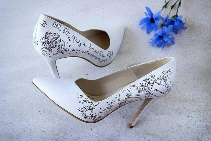 Zapatos de novia Pintados a Mano _ Lodi shoes _ lapiz creativo