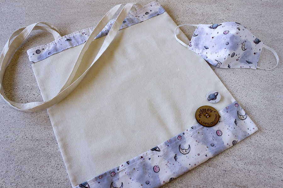 Tote Bag miMos _ Bolsas de tela _ Lunas y estrellas _ Lapiz Creativo