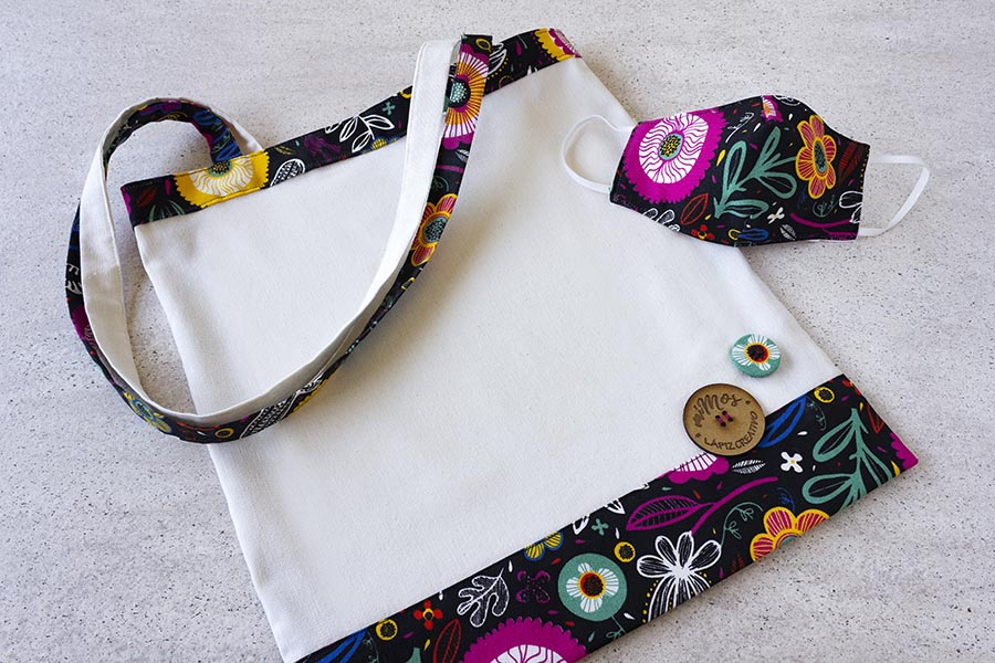 Tote Bag miMOs _ Bolsa de tela estampado Flores Retro