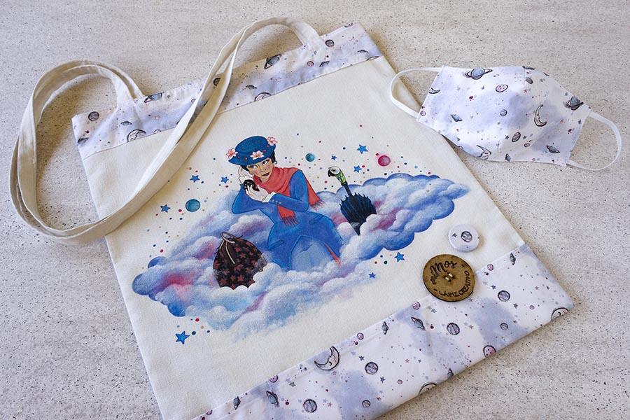 Tote Bag miMos _ Bolsas de tela pintadas a mano _ Mary Poppins _ Lapiz Creativo