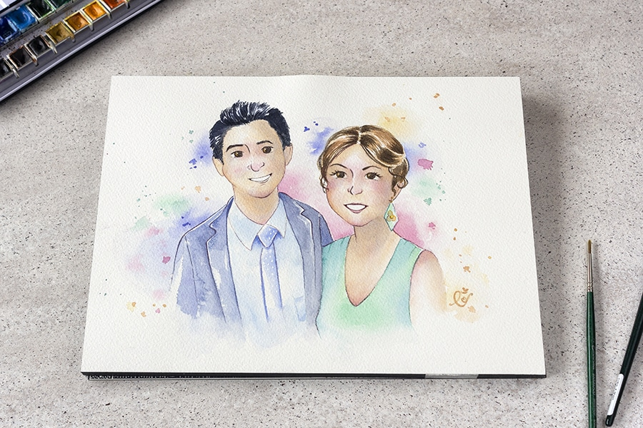 Ilustraciones Personalizadas _ Retrato de pareja _ Acuarela LapizCreativo