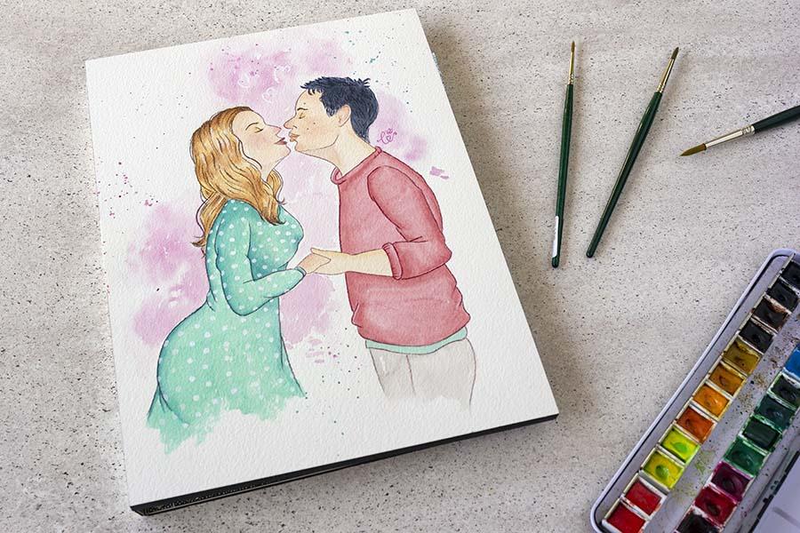 Ilustraciones personalizadas _ retrato novios _ acuarela _ LapizCreativo