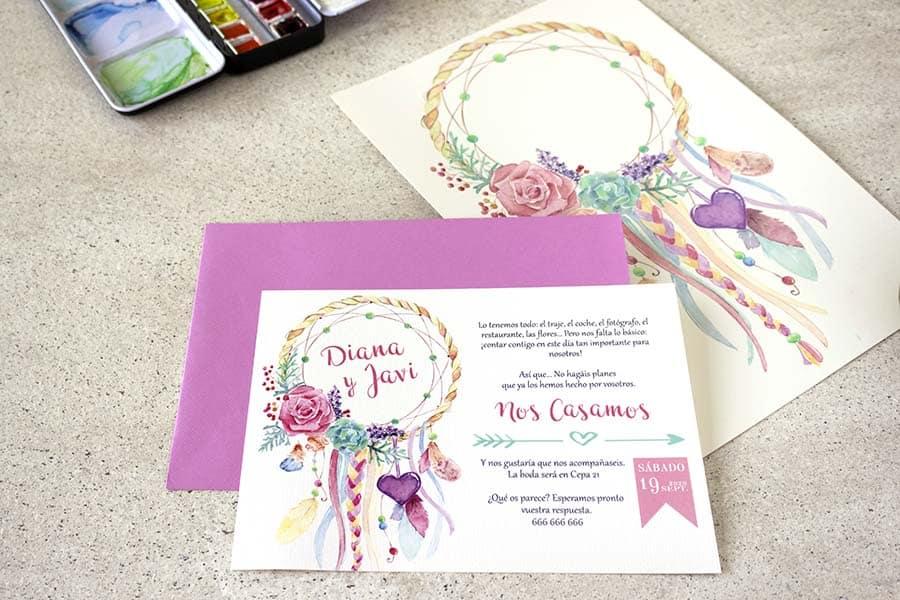 Invitaciones de boda _ invitaciones disney _ atrapasueños _ lapizcreativo