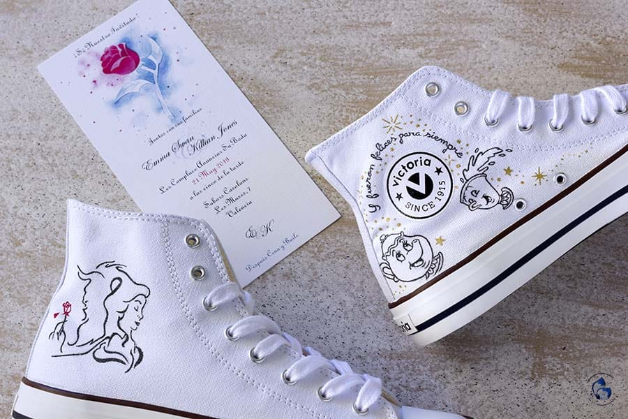 Zapatillas Disney _ Zapatillas de novia Personalizadas _ la bella y bestia _ Lápiz creativo