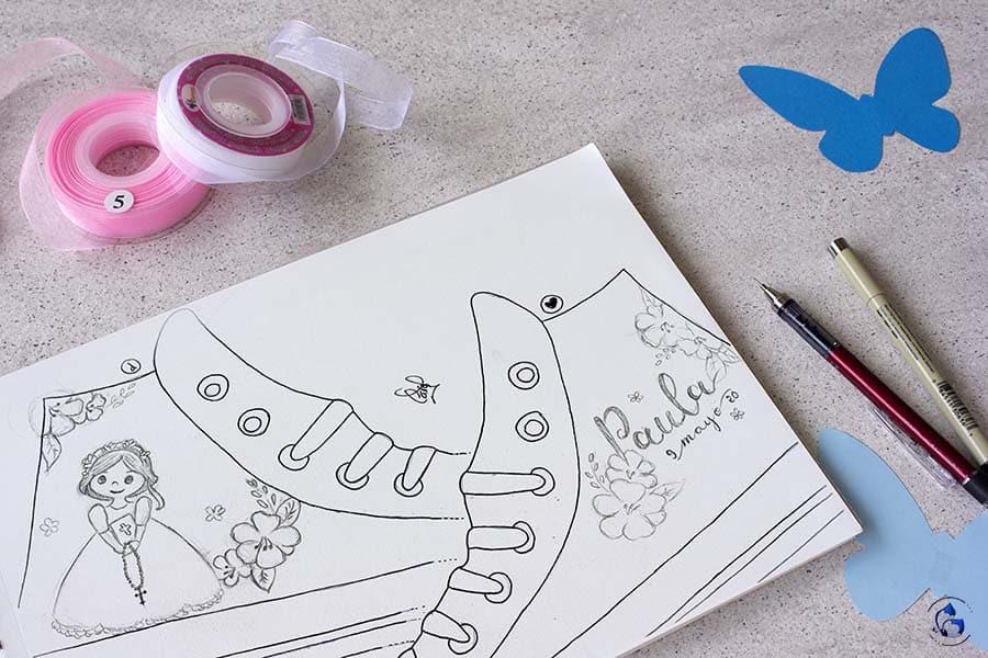 Boceto zapatillas de comunión niña _ LapizCreativo