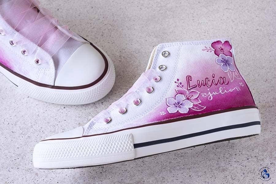 Zapatos de comunión _ converse pintadas _ LapizCreativo