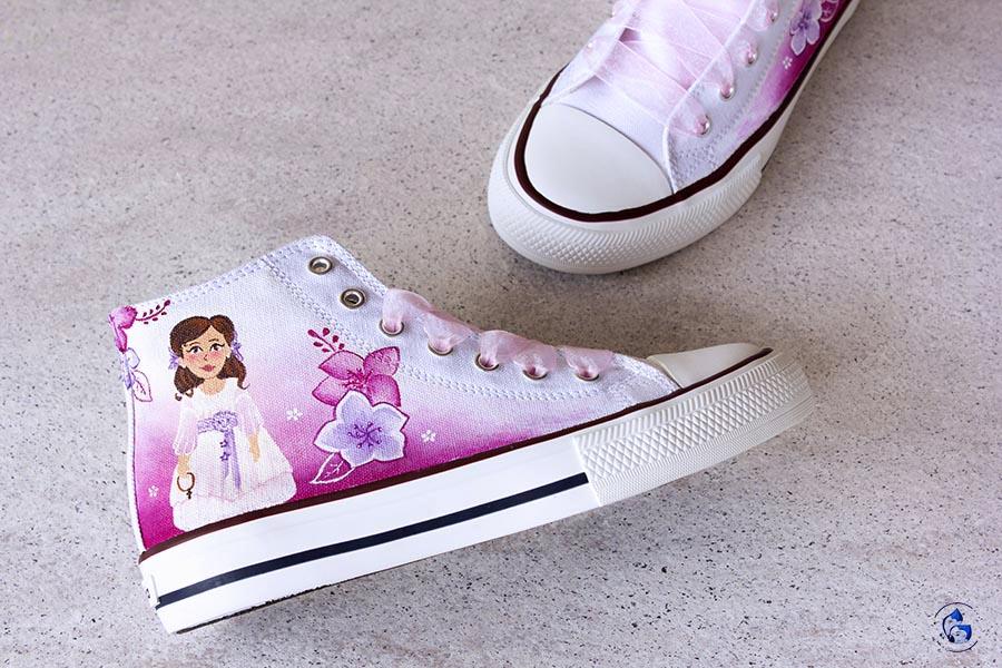 Zapatos de comunión _ zapatillas decoradas niña _ LapizCreativo