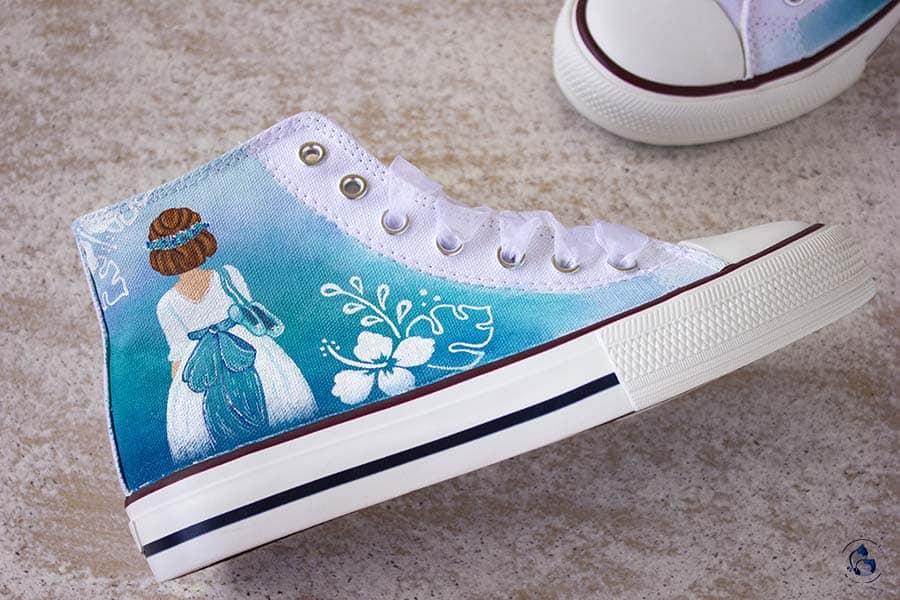 Zapatos de comunion - turquesa - niñas de comunion - bambas decoradas - converse personalizadas - lapizcreativo
