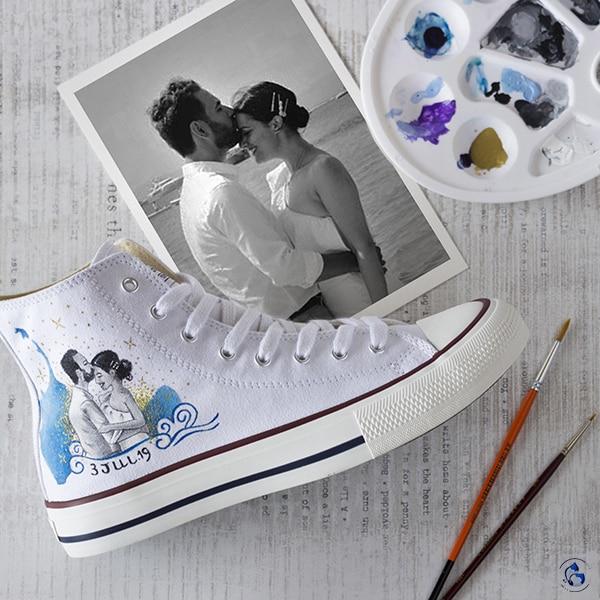 Regalos de boda - zapatillas personalizadas - zapatillas de boda - lapizcreativo